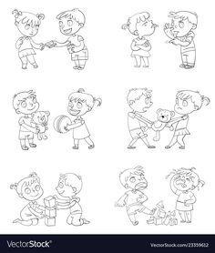 Good and bad behavior of a child. brother and sister fighting over a toys. Preschool Learning, Teaching Kids, Brother And Sister Fight, Coloring Books, Coloring Pages, Funny Cartoon Characters, Bad Friends, Funny Friends, Blue Rose Tattoos