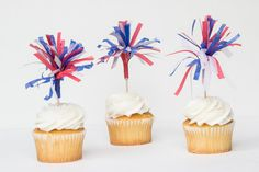 Cupcake Toppers || Red, White, and Blue Mixed || Set of 12 on Etsy, $6.00