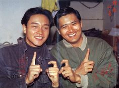 Leslie Cheung 'Kwok-Wing' & Chow Yun-Fat: Two great and extremely talented entertainers from HK.   R.I.P., Leslie.   (courtesy: Leslie Cheung Facebook page)