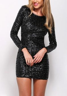 This beautiful black sequin cocktail dress features a wonderful scoop neckline, button closure, full lining, and a cutout back for a flirty yet sophisticated finish. | Lookbook Store