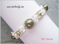 Pattern Tutorial - Crystal Green Pearl Metal Bracelet (BB167) - Beading Jewelry…