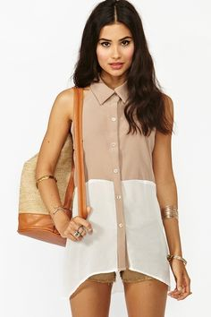 nastygal chiffon colourblock blouse