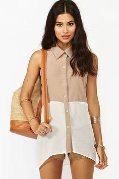 chiffon colorblock blouse