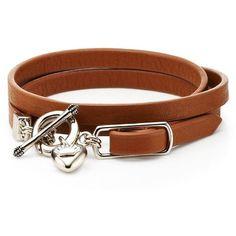 Juicy Couture Triple Wrap DIY Bracelet (24.540 CLP) ❤ liked on Polyvore featuring jewelry, bracelets, belts, accessories, bijoux, brown, brown bracelet, dangle charms, juicy couture charm and wrap bracelet