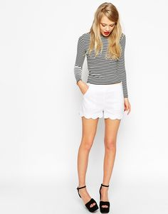 Image 1 ofASOS Shorts in Linen with Scallop Hem