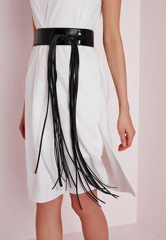 Missguided - Ceinture noire à longues franges