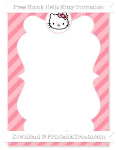Sample invite nahyas 1st birthday hello kitty pinterest need a hello kitty themed party invitation you can personalize get this cute pastel light pink diagonal striped blank hello kitty invitation you can edit stopboris Images