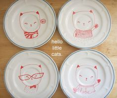 rescued plates | Flickr - Photo Sharing! pretty little thieves rescued plates  vintage plates hand drawn/hand painted originals