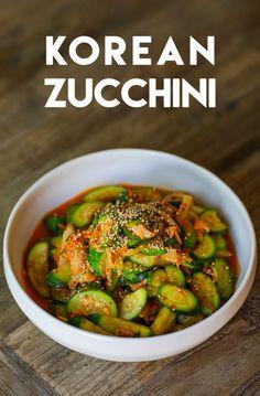 Korean Zucchini Side Dish Korean Zucchini Side Dish Recipe and Video Riblets Recipe, Bulgogi Recipe, Korean Side Dishes, Korean Zucchini Recipe, Side Dish Recipes, Asian Recipes, Pumpkin Recipes Korean, Asian Desserts, Chinese Recipes