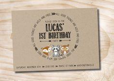 Amis de forêts sauvages et Kraft gratuit 1 St Birthday Party Invitation numérique carte - bricolage, vous imprimez, imprimable par PaperHeartCompany sur Etsy https://www.etsy.com/fr/listing/204547842/amis-de-forets-sauvages-et-kraft-gratuit