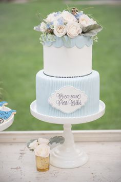 Photography : KLK Photography | Cake : Simply Sweet Cakery | Floral Design : A Good Affair Wedding & Event Production Read More on SMP: http://www.stylemepretty.com/living/2015/03/11/french-inspired-baby-shower/