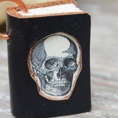 Black Leather Miniature Book Necklace with Skull