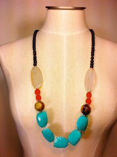 Semi Precious Stone Beaded Necklace Quamby by quambydesigns