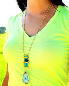 Light blue stone necklace with gold tones. #fashionjewelry #wiw #fashion #turquoise #necklace