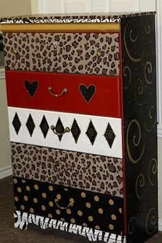 black white and red #painted #furniture
