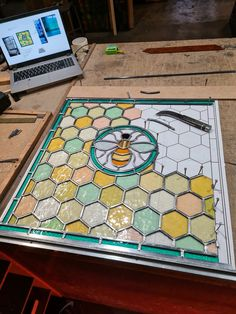 Stained glass bee window by Light Leaded Designs