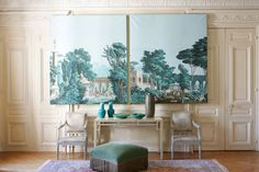 Carolle Thibaut-Pomerantz is an expert in the decorative art of wallpaper. But this decorative art is far more than wallpaper. So much so that the word wallpaper doesn't even suffice. Photo Wall Decor, Wall Decor Pictures, Unique Wall Decor, Office Wall Decor, Metal Wall Decor, Art Decor, Home Decor, Scenic Wallpaper, Wallpaper Panels