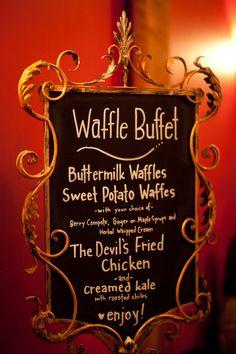 Waffle Buffet menu // photo by June Lion // http://ruffledblog.com/whimsical-portland-brunch-wedding