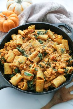 soy free omit tempeh with can drained garbanzo beans.This Creamy Vegan Pumpkin Pasta with Apple & Sage is exploding with fall flavor. It's the perfect comforting meal for a chilly autumn night. Warm Salad Recipes, Sage Recipes, Pasta Recipes, Dinner Recipes, Pumpkin Recipes, Dinner Ideas, Rigatoni Recipes, Dessert Recipes, Pumpkin Pasta