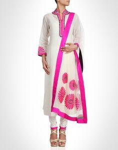 Cream chanderi silk suit with neon pink appliqué work. Shop Now: www.kimaya.in