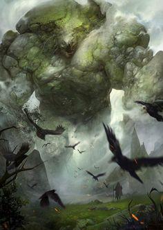 魔石巨人崛起, qun wang on ArtStation at https://www.artstation.com/artwork/NZRVP