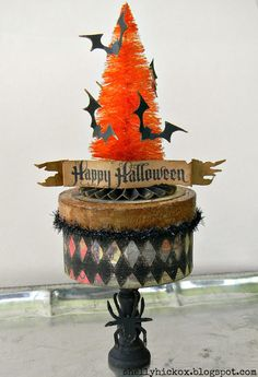 Halloween bottle brush tree with paper bats