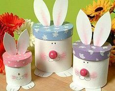 How to make bunny boxes - perfect for Easter decorating Easter Projects, Craft Projects, Spring Crafts, Holiday Crafts, Happy Easter, Easter Bunny, Diy For Kids, Crafts For Kids, Recycle Cans