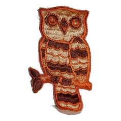 Hoo's There Owl Patch 1970s Embroidered Sew On Kitsch Applique Badge Fall Autumn Brown Vintage Embroidery Owl Lovers Gift Hip 70s Retro Bird featuring polyvore women's fashion accessories