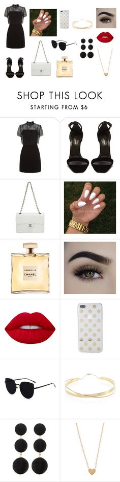 """""""cool style"""" by elisa917 on Polyvore featuring Sandro, Yves Saint Laurent, Chanel, Lime Crime, Kate Spade, Lana Jewelry e Cara"""