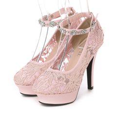 ティアラカーラ Tiaracara アンクルビジュレースパンプス (ピンク) -靴とファッションの通販サイト ロコンド