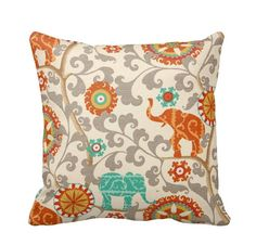 Cayenne Elephants Zippered Throw Pillow by PrimalVogueHomeDecor