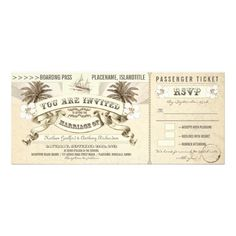 "wedding invitations - boarding pass tickets with vintage beach, yacht, palm trees composition and beautiful typographic design. I suggest the ""Linen"" or ""Felt"" paper for this design. If you need more additional products (like reception, letterheads, wedding stickers etc), please contact me. If you like my style, please go to my store and see a lot of unique designs."