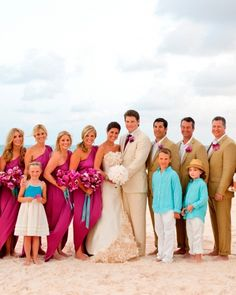 Harbour Island, Bahamas.The Bridal Party. The bridesmaids wore Halston Heritage dresses and Alexis Bittar earrings, and held bouquets of fuchsia orchids. The groomsmen wore J.Crew suits.