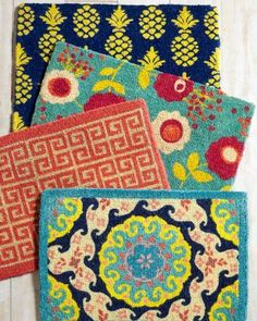 Adorable doormats from Garnet Hill. The Greek Key would look good with my teal door