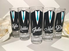 Personalized Shot Glasses with Tuxes Groom by NerdyGiirlCouture