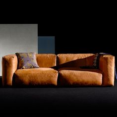 MAGS SOFA SOFT, combinations in aniline leather, inverted seams, HAY: comfortable, deco and design