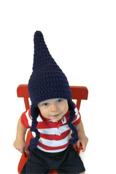 Crochet Gnome or Pointy Elf Hat for baby toddler by makinitmama,