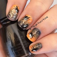 Halloween nail art - The base is a gradient with #SallyHansen InstaDry in both 'Dreamsicle' and 'Grease Lightening.' Then I stamped the web using #Cheeky Jumbo Plate 6 'Happy Holidays' and #Maybelline Color Show Metallics in 'Bold Gold.' Finally the spiders were free-handed using @chinaglazeofficial 'Liquid Leather' and 'White on White.' My favourite is the surprised google-eyed looking spider