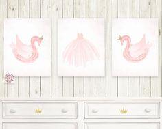 Boho Pink Swan Ballet Nursery Wall Art Print Baby Girl Ethereal Set Of 3 Prints Gold Crown Watercolor Printable Decor Baby Prints, Nursery Prints, Nursery Wall Art, Girl Nursery, Wall Art Prints, Swan Nursery Decor, Room Decor, Ballerina Nursery, Princess Nursery