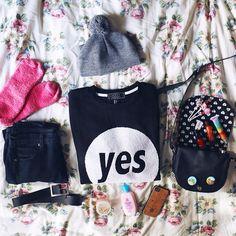 winter ootd  | sweater, jeggings, hat: @forever21 | socks: @target | studded bag: @aero850