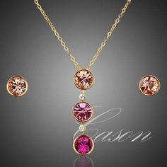 18k gold plated pink circles jewelry set