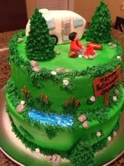 Cat's Cake Creations: Camping Retirement Cake