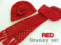 *Free Crochet Pattern - Red Granny Hat and Scarf Set