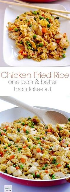Skip the take-out and make this easy chicken fried rice at home. It's a simple weeknight dinner that's so budget friendly, and it's a real crowd-pleaser! | http://APinchOfHealthy.com