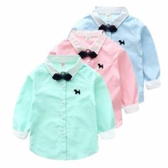 Boys Long-sleeve Shirts Have 2 colour Pink Blue Green Size 2/3 3/4 4/5 5/6 Years
