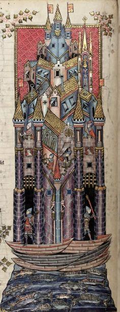"""""""L'Assedio della città di Tiro"""". Miniatura tratta dal Romanzo di Alessandro (1338-1344), Bodleian Library, Oxford  [source]http://t.umblr.com/redirect?z=https%3A%2F%2Fes.pinterest.com%2Fpin%2F484981453602862652%2F&t=ZjFmNGUzNzFiZDhlNThjN2Y3MDUyZDgyYTMwMWM0OTkxNzI1ZTU3OCxwQ3I2ZHBQWQ%3D%3D"""