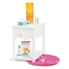 The Dreamy Nightstand Set is a My American Girl accessory set released in 2012 and retired in 2014. Retail cost was $58.