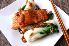 Seared Salmon with Baby Bok Choy & Miso Sauce Recipe. If you have ever been to a Japanese Teppanyaki Restaurant you may have tasted Miso Sauce. It's delicious with many things, including this Salmon and Bok Choy.