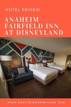 Looking for a family-friendly hotel that is located across the street from Disneyland? Check out my review of the Anaheim Fairfield Inn. Click to read more or pin to save for later. www.marcieinmommyland.com