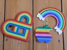 Rainbow style magnet made of hama beads by FlozosCrafts on Etsy, £2.50